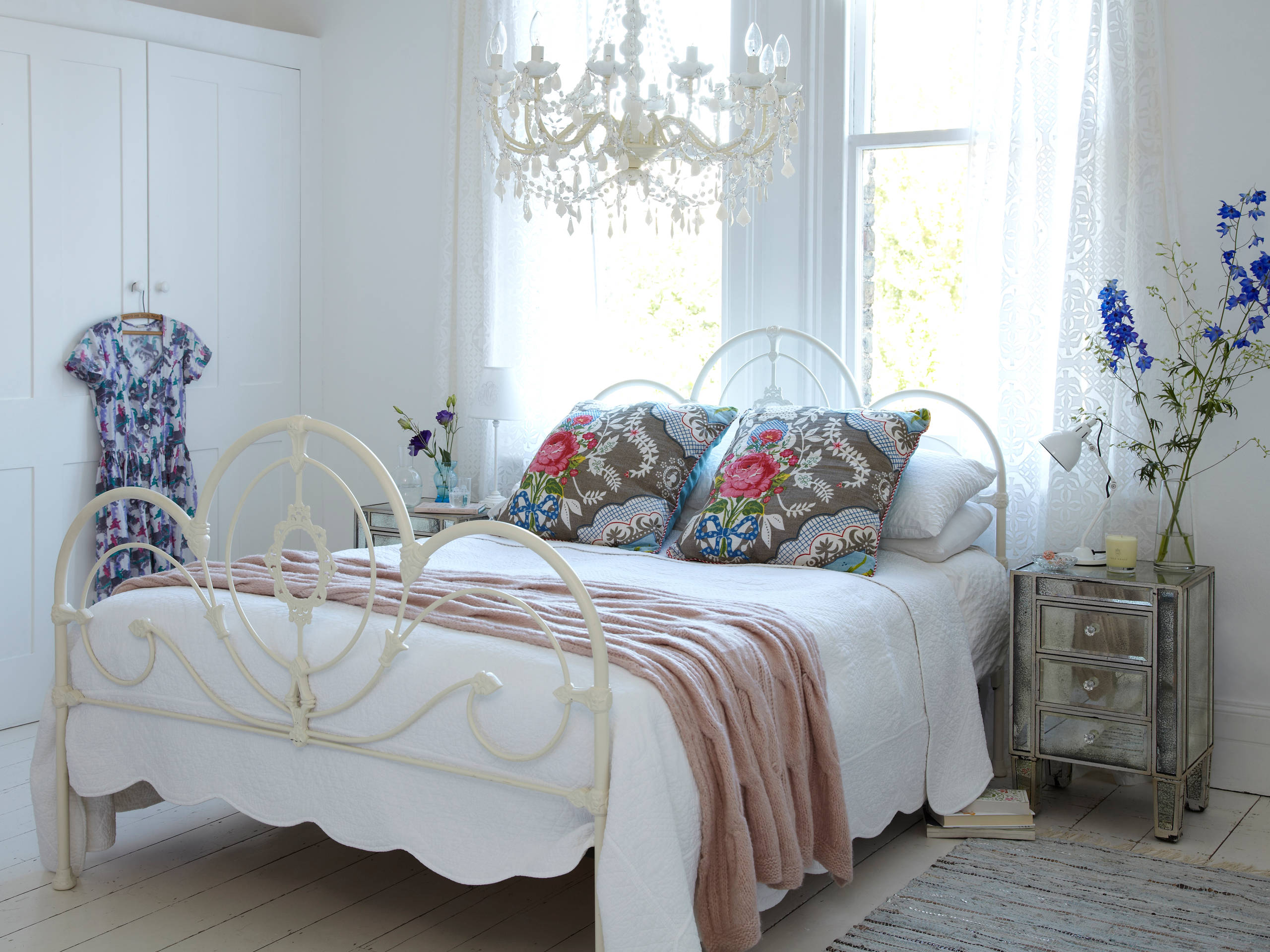 Bedroom enchanting bedroom chandeliers and wrought iron for Beds plus
