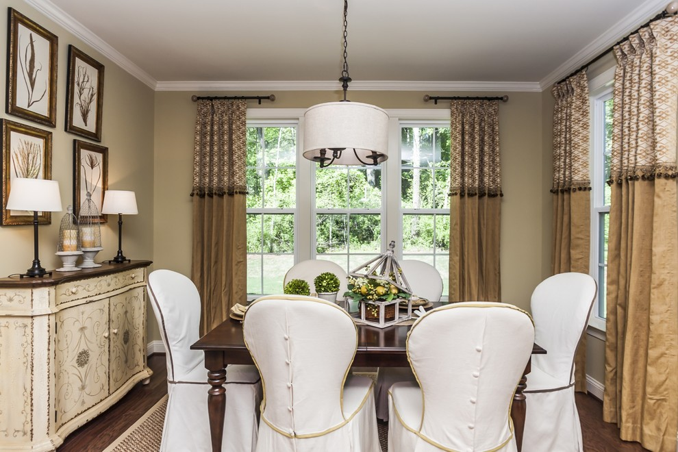 Excellent Dining Room Design With Neutral Colors Ideas Plus Slipcovers Chairs And Wood Table Also Drum Pendant Curtain Rod For Drapes