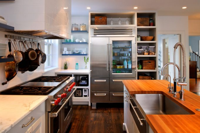 Excellent Wood Countertops Plus Kitchen Sink And Dornbracht With Darkwood Flooring For Floors Kitchen Ideas Plus Open Shelves As Kitchen Organization Also Recessed Lighting