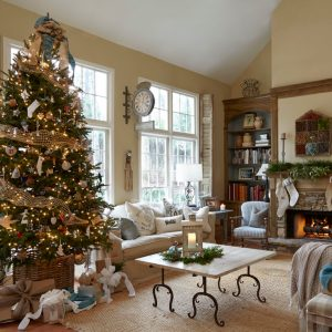 Farmhouse Family Room With Sisal Carpet Plus Best Artificial Christmas Trees For Decorations With Decorative Pillows For Couches Also Tan Sofa With Marble Top Coffee Table