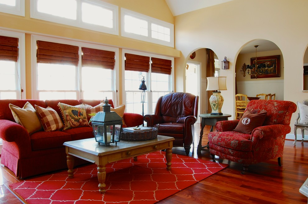 Farmhouse Living Room With Window Treatments For Large Windows And Decorative Pillows On Red Designer Sofa Covers Plus Coffee Table Storage Rug