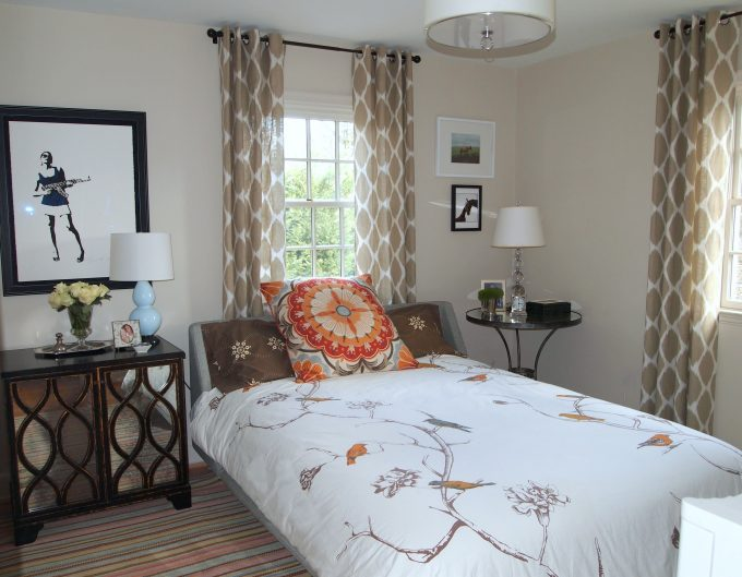 Guest Bedroom Decorating Ideas With Windows Treatment Plus West Elm Drapery Also Drum Pendant Light And Cordless Table Lamps On Mirrored Nightstand With Striped Area Rug