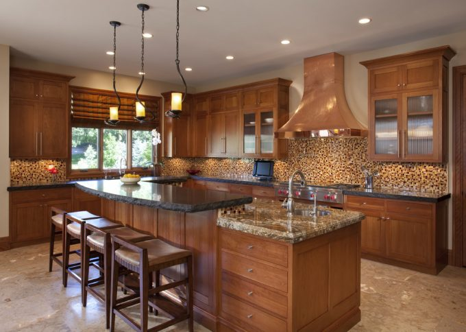Inspiring Mosaic Tile Backsplash Plus Refacing Cabinets With Under Lighting Cabinet Also Recessed Lighting Plus Black Countertop On Kitchen Island With Unique Pendant Lighting