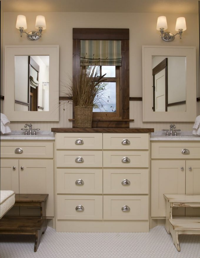 Inspiring Neutral Colors Plus Bath Hardware With Wall Sconce And Frame Mirror Also Double Vanity And Double Sink Plus Bin Pulls With Carrara Marble And Hex Tile Flooring Plus Step Stool