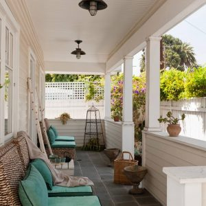 Inspiring Porch In Bungalow With Tile Flooring And Cushion Seat On Sisal Chairs Plus Outdoor Cushion With Porch Lights On Tongue And Groove Ceiling Plus Garden Accessories