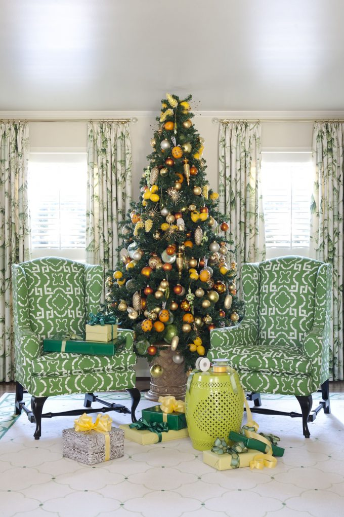 Interesting Patterned Armchairs In Traditional Living Room With Best Artificial Christmas Trees For Christmas Decoration Plus Green Garden Stool And Windows Treatment