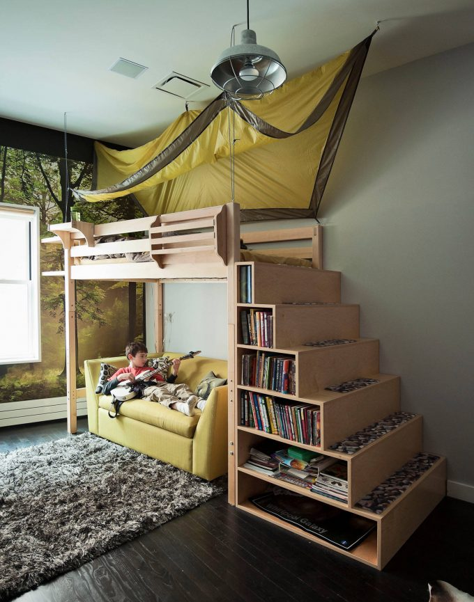 Kid Beds With Ladder Shelves And Pendant Lighting For Contemporary Kids Room Design With Dark Hardwood Floor And Gray Shag Rug Plus Modern Sofa And Masculine Wall Art