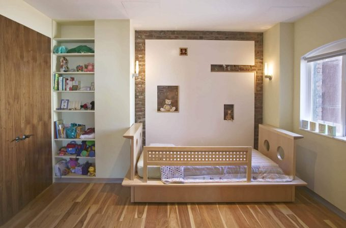 Kid Beds With Striped Bedding And Mid Century Modern Wall Unit For Contemporary Kids Room Design With Wall Sconces And Arch Window Plus Wood Floor Also Kids Cabinets Storage