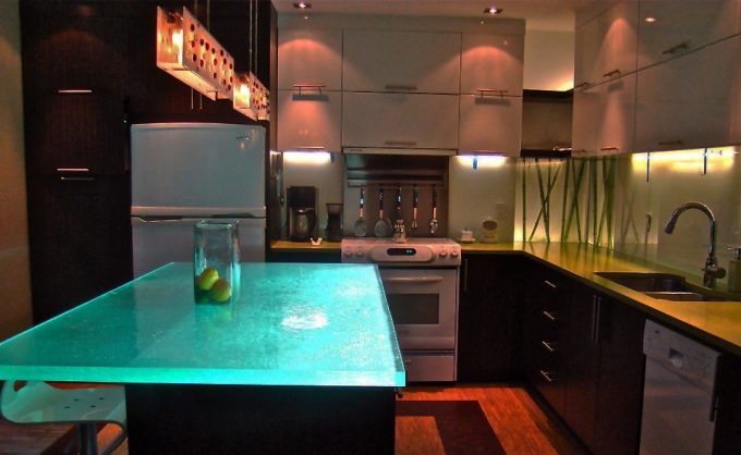 Kitchen Island With Glass Countertops And Bar Stool Plus Pendant Light For The Kitchen Also Reface Cabinets With Under Cabinet Lighting And Recessed Lighting For Small Kitchen Ideas