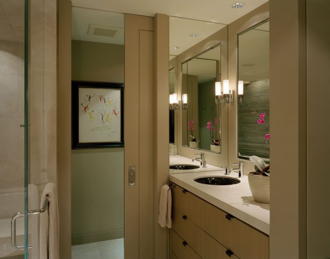 Master Bathroom Ideas With Natural Colors Ideas Plus Bath Hardware Also Walk In Shower Ideas With Beige Bathroom Cabinet Plus Mirror And Wall Sconce Also Recessed Lighting With Sliding Door