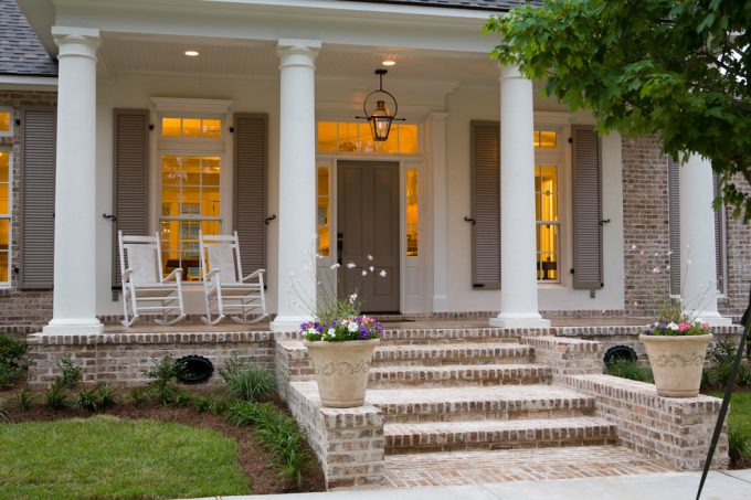 New Orleans Designer For Traditional Porch With Porch Colors And Brick Porches Also Porch Lights With White Ceiling Plus Recessed Lighting And Window Shutters