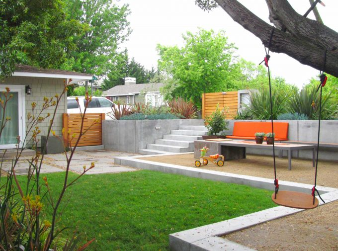 Orange Bench With Outdoor Table And Retaining Wall For Contemporary Landscape Design With Concrete Staircase And Wooden Gates Plus Wall Sconce Also Glass Door