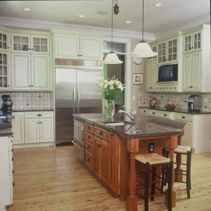 Paint Kitchen Cabinets With Kitchen Knobs And Tile Backsplash In Traditional Kitchen With Custom Kitchen Islands And Kitchen Sink Faucet Plus Crown Moulding Also Bar Stools