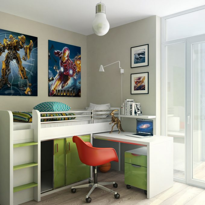Photo Collage Ideas With Swing Arm Lamp And Pendant Lighting For Contemporary Kids Room Design With Kid Beds And Striped Pillows Plus Office Chair Also Double Glass Door
