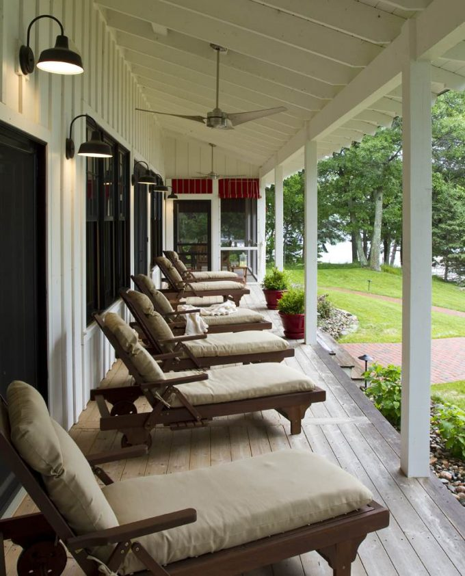 Rustic Porch With Board And Batten Also Cabin Plus Ceiling Fan And Porch Lights With Chaise Longue In Cottage Plus Deck For Farmhouse In Lake House With Outdoor Cushions On Patio Furniture