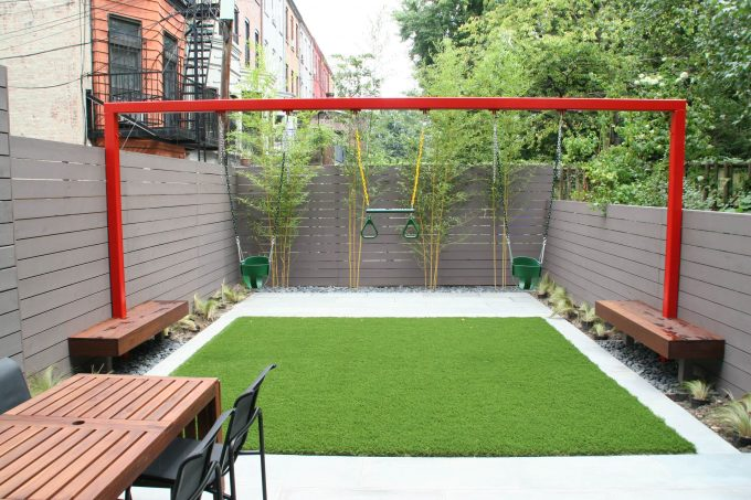 Small Backyard Ideas With Backyard Fence And Built In Benches Also Bamboo Plus Gravel With Turf And Swing Sets Also Outdoor Dining Table With Outdoor Dining Chairs