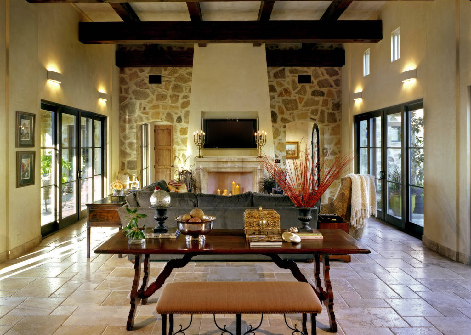 house design: travertine tile floor with rustic table and living