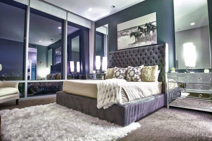 Tufted Headboard On Platform Bed Plus Bed Pillows Also Chest Of Drawers As Mirrored Nightstand For Purple Bedroom Ideas With Recessed Lighting And Brown Carpet Aslo White Shag Rug