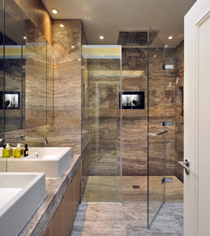 Walk In Shower Ideas In Appealing Batroom With Glass Shower Enclosure And Doeble Sink On Vanity Plus Dornbracht On Wall With Polished Travertine For Flooring Plus Recessed Lighting