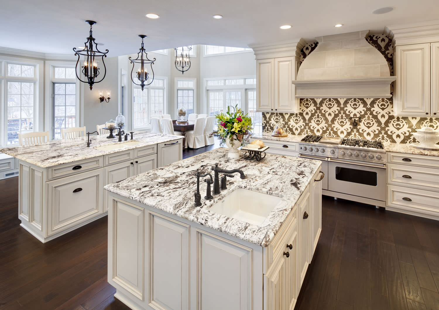Furniture white ice granite with ceiling lighting also for Overhead kitchen cabinets