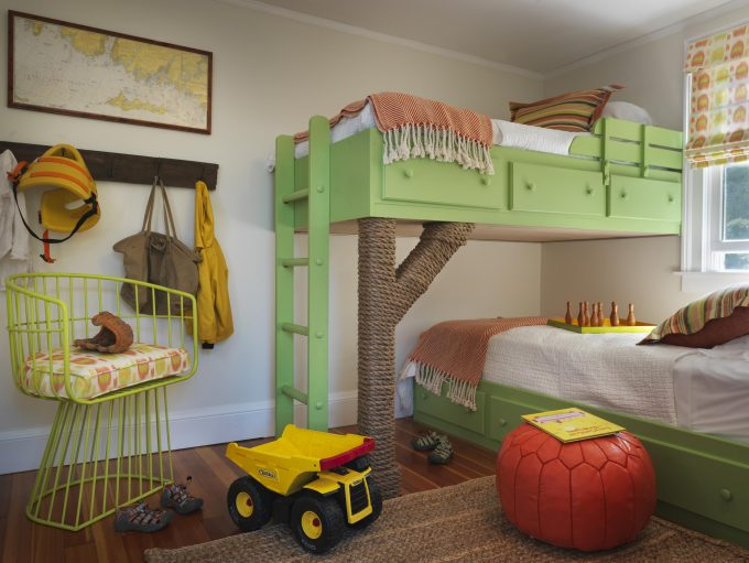 Wood Tile Flooring With Sisal Carpet And Globe Table For Beach Style Kids Room Design With Kid Beds And Striped Pillows Plus Roman Blinds Also Green Ladder