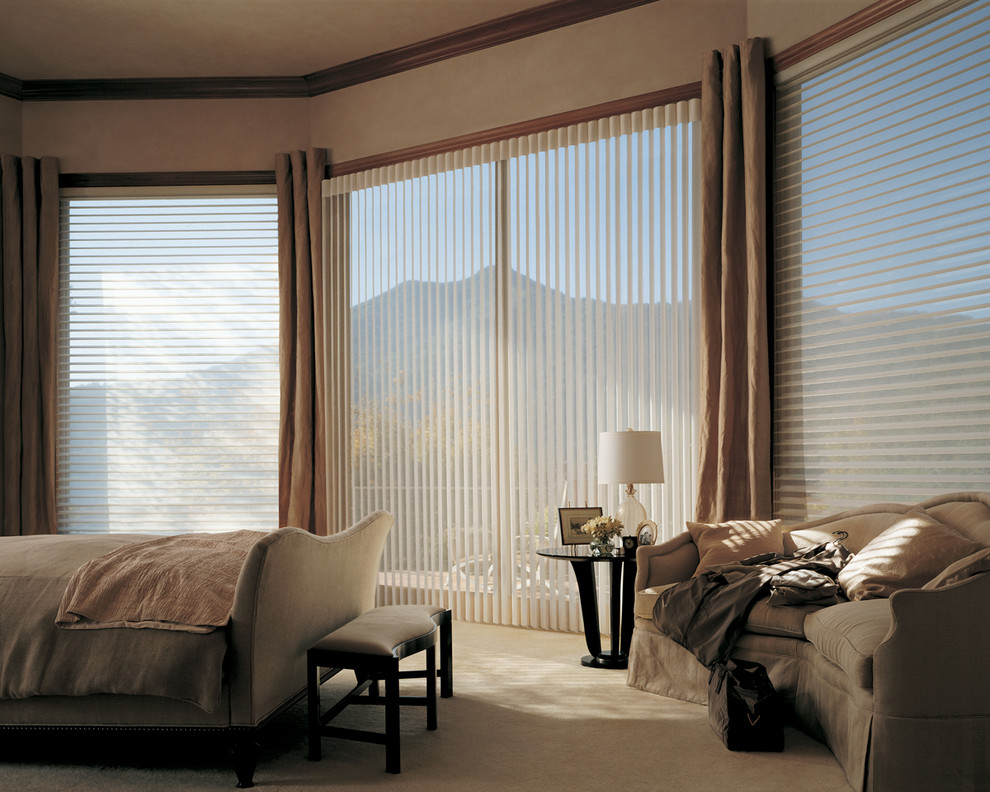 Accent Window Fashions Wausau Wi And Alustra Window Treatments With Contemporary Interior Design Plus Hunter Douglas Blinds Also Modern Sofa And Cordless Table Lamp In Modern Bedroom