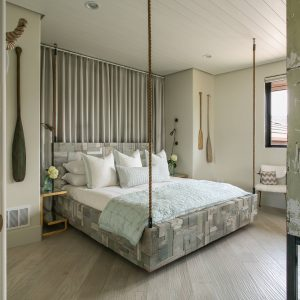 Accessories For Guest Bedroom With Nautical Rope And Reclaimed Wood Bed Also Hanging Bed Plus Bed Pillows With Tongue And Groove Ceiling Plus Recessed Lighting Also Hardwood Flooring