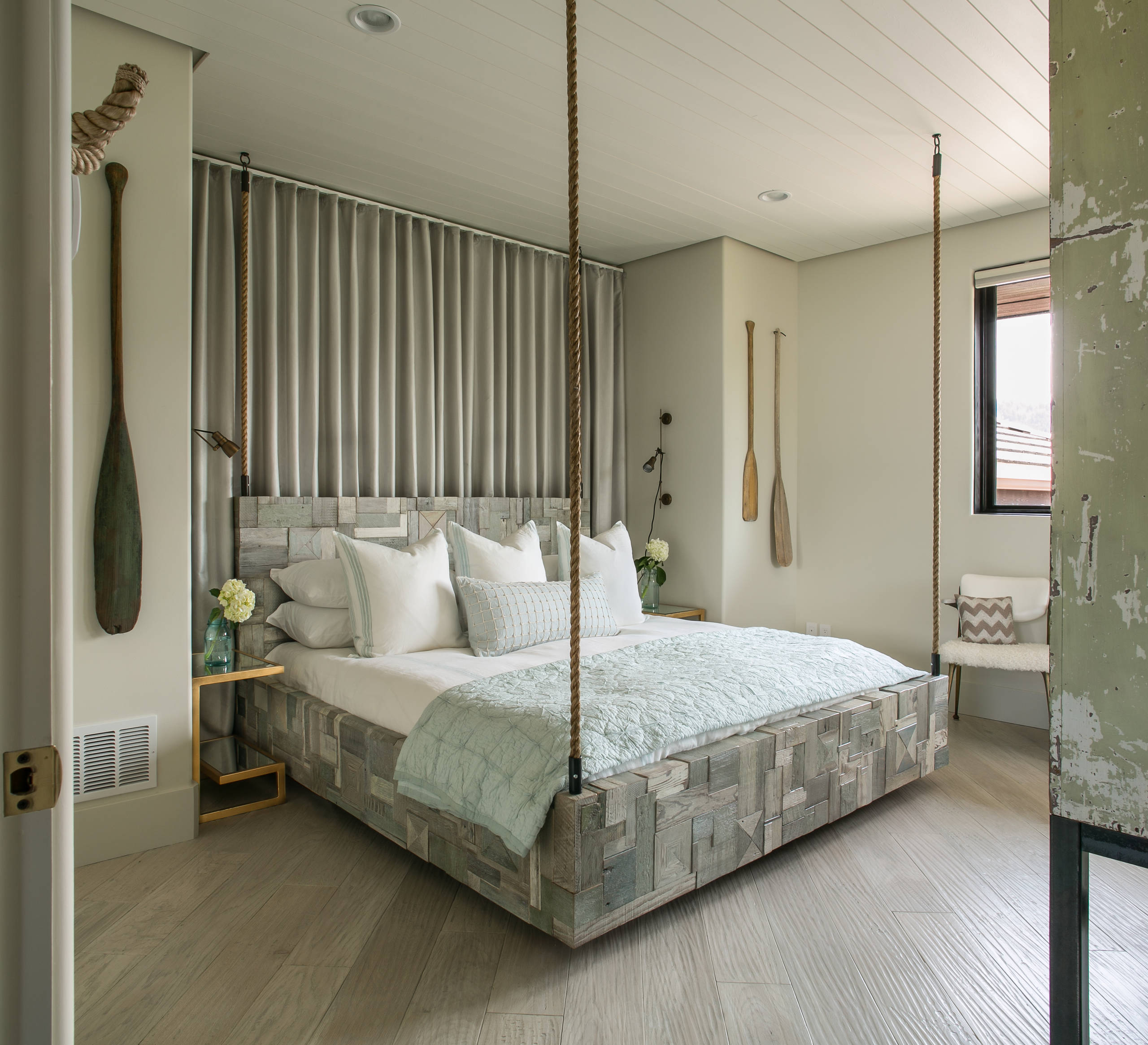 Inspiring Bedroom Decor with Reclaimed Wood Bed Ideas: Accessories For Guest Bedroom With Nautical Rope And Reclaimed Wood Bed Also Hanging Bed Plus Bed Pillows With Tongue And Groove Ceiling Plus Recessed Lighting Also Hardwood Flooring