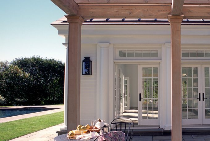 Accessory Building For Country Home Plus French Door With Transom Windows French Doors For Guest House Plus Infinity Edge Pool Also Natural Pergola With Outdoor Dining Plus Outdoor Sconces
