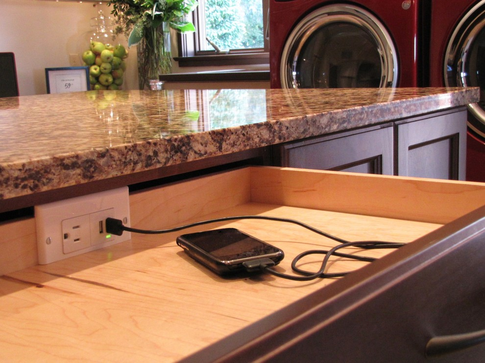 Addition And Phone Charging Station In Drawer With Granite Countertop On Cherry Cabinets In Craft Room With Cubbies And Custom Cabinets Plus Desktop Charging Station Also Window
