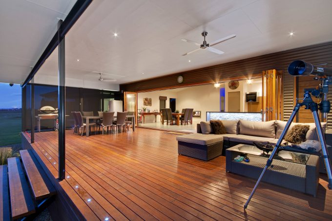 Alfresco In Contemporary Deck With Feature Lighting As Deck Lighting For Indoor Outdoor Living Plus Modern Queenslander And Ceiling Fan In Outdoor Entertaining With Timber Bi Fold Doors