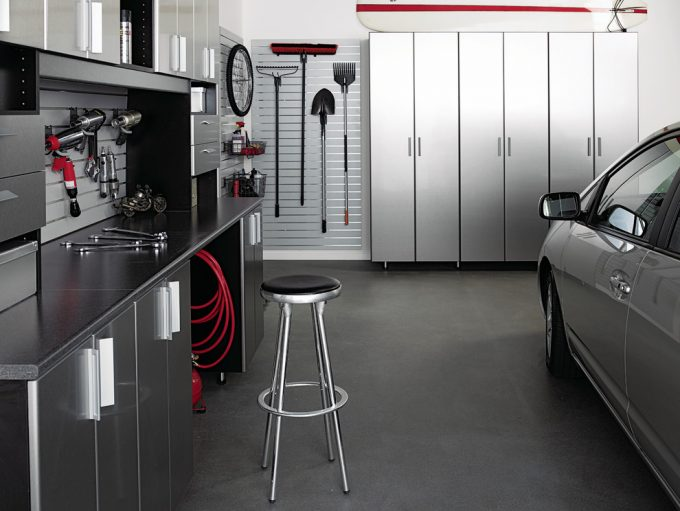 Aluminum And Cabinets In Contemporary Garage And Shed With Car Storage Also Counter Top Plus Drill Gun And Garage Storage With Hanging Tools Also Lawn Tools And Organization With Slot Wall
