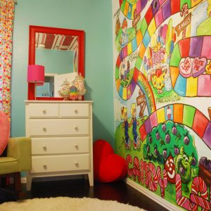 Amazing Accent Wall In Modern Kids For Bedroom With Tiffany Blue Paint Plus Bold Colors And Chest Of Drawers Also Mirror With Dark Flooring Plus Round Rug And Green Armchair Also Window Treatments