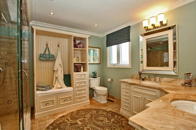Amazing Traditional Bathroom With Bathroom Lighting Ideas Plus Bathroom Storage Also Beige Countertop And Beige Tile Floor For Bathroom Remodeling With Double Bathroom Sink