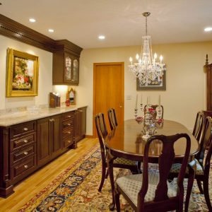 Decorating Antique Furniture And Glassware In Dining Room With