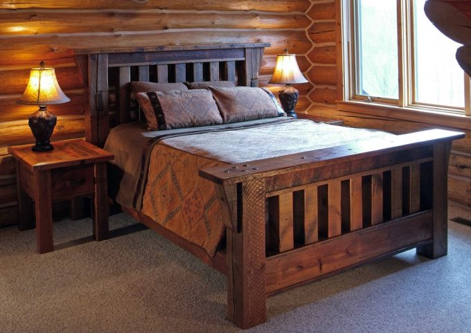 Antique Wood Bed And Antique Wood Furniture With Reclaimed Wood Bed For Eclectic Bedroom Plus Barnwood Furniture Also Eco Friendly Furniture And Inspiring Wood Wall With Antique Table Lamp On Side Table
