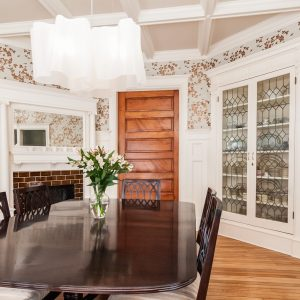 Appealing Wallpaper In Traditional Dining Room With Dining Room Decor Ideas Plus Corner China Cabinet And Modern Pendant Light With Coffered Ceiling And Dark Wood Dining Table