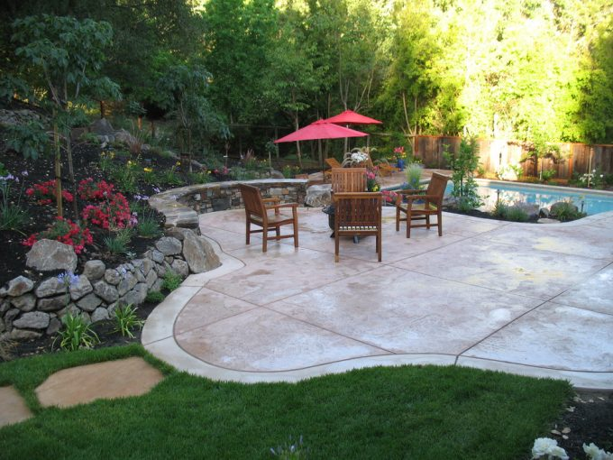 Architect For Traditional Landscape Plus Chairs Also Patio Umbrella For Family Friendly With Landscape Design Plus Lawn And Swimming Pool Also Retaining Wall With Stamped Concrete Patio