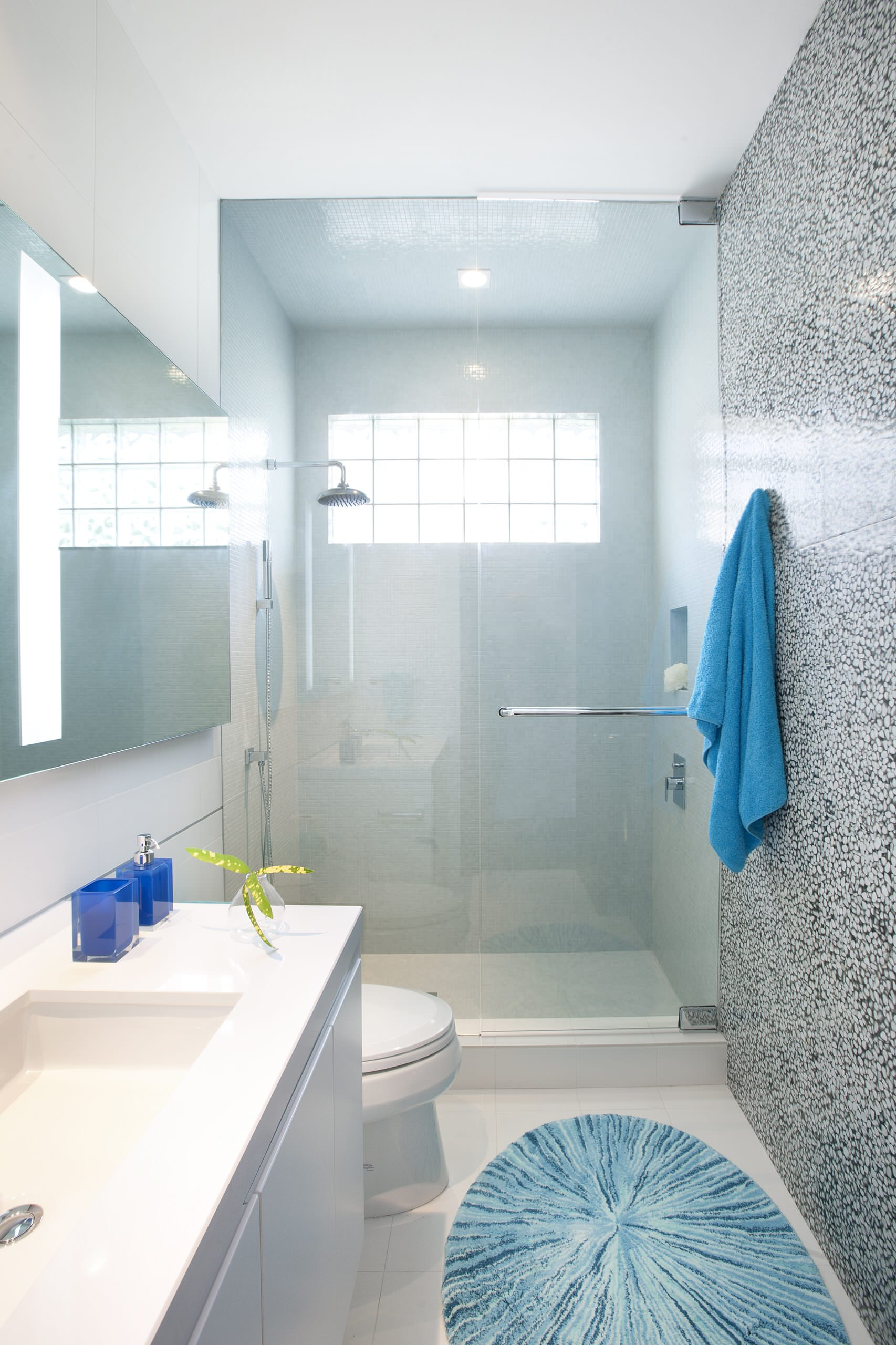 Architecture For Contemporary Bathroom Plus Bathroom Vanity And Glass Shower Enclosures Also Contemporary Designers With Glass Shower Doors And Rain Showerhead Plus Tile Wall Also Wall Mirror