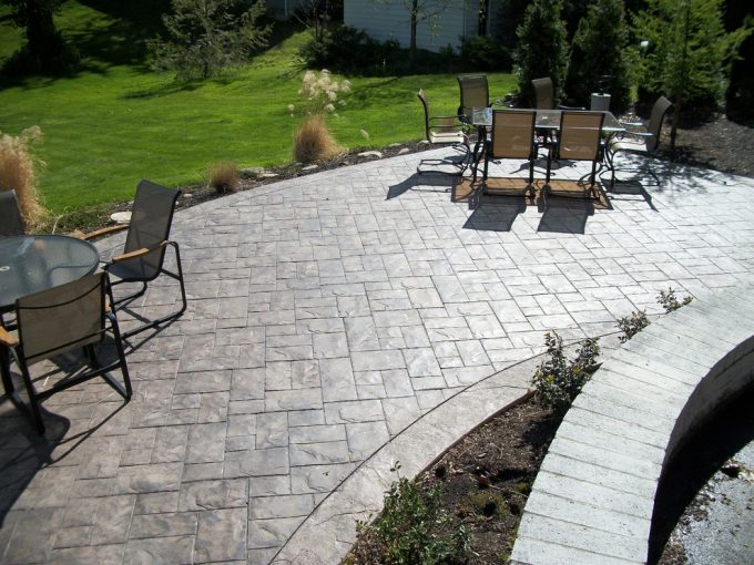 Ashlar Slate And Fordson Concrete In Traditional Patio With Patio Designs And Stamped Concrete Patio Plus Patio Furniture Also Curved Small Garden With Concrete Seat Wall