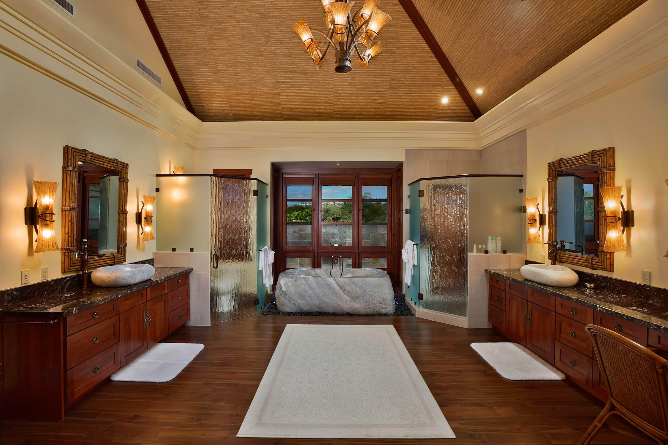 Architecture: Asian Bathroom With Ceiling Lighting Also Chandelier ...