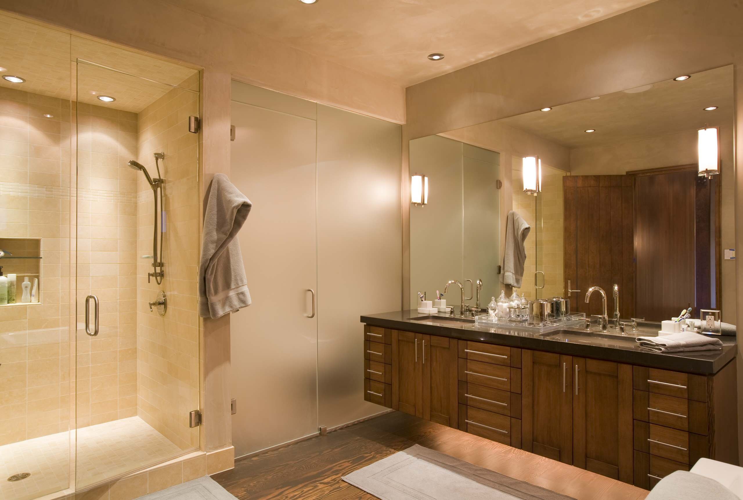 Inspiration for Remodeling Bathroom Using Water Closet: Backlighting And Bathroom Hardware Plus Bathroom Mirror In Contemporary Bathroom With Ceiling Lighting And Dark Flooring Plus Floating Vanity Also Water Closet With Frosted Glass