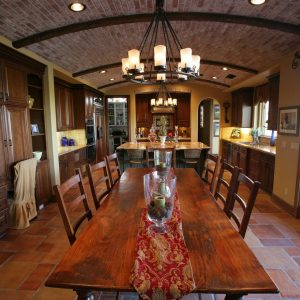 Barrel Vault With Brick Ceiling Plus Ceiling Lighting Also Chandelier And Dark Wood Cabinets In Mediterranean With Exposed Beams And Dal Tile Also Glass Doors Plus Table Runner Also Shaker Style Chairs