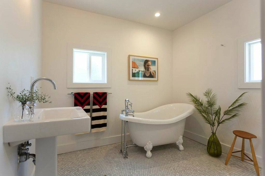 Bathroom Design Ideas With Pedestal Sink And Hexagon Tile For Bathroom Flooring Also Claw Foot Tub And Stool With Indoor Plant Plus Towel Rack And Window Trim