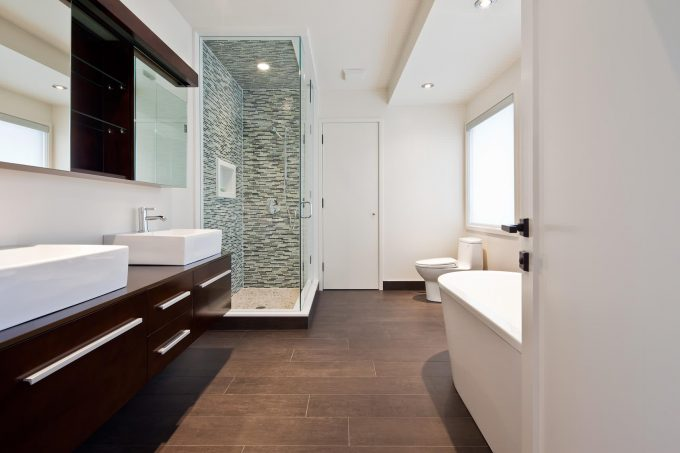 Bathroom Mirror In Rustic Bathroom With Ceramic Tile That Looks Like Wood  And Ceiling Lighting Plus Part 60