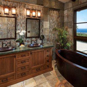Bathroom Vanity Cabinets With Vessel Sink Faucets And Mirrored Vanity For Asian Bathroom Design With Wall Sconces And Mosaic Tile Backsplash Plus Freestanding Tub Also Laminate Tile Flooring
