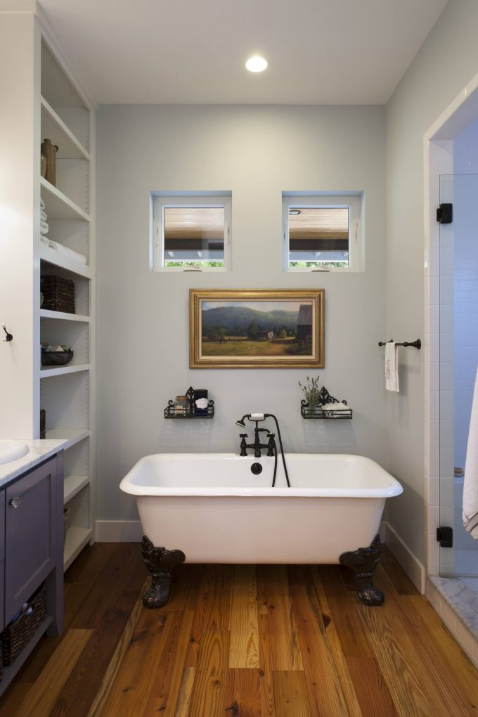 Bathroom Windows With Claw Foot Tub And Towel Rack Also Bathroom Storage Ideas For Small Bathrooms And Bathroom Vanity With Wood Flooring And Glass Shower Door