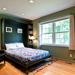 Bedroom Decor With Murphy Bed And Bedding Also Built In Bookcase And Window Treatments With Interior Paint Ideas Plus Black Leather Armchair And Wood Flooring