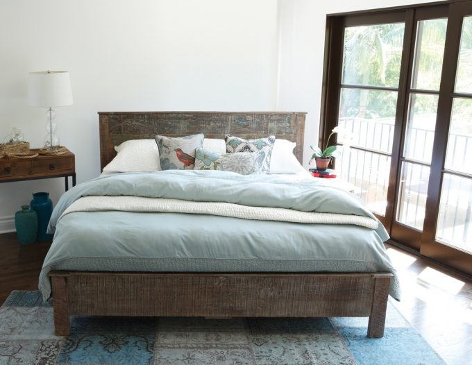 Bedroom Designs Plus Reclaimed Wood Bed For Bedroom Ideas With Hardwood And Low Profile For Master Bedroom Ideas Plus Colorful Rug Also Cordless Table Lamp On Bedside Table