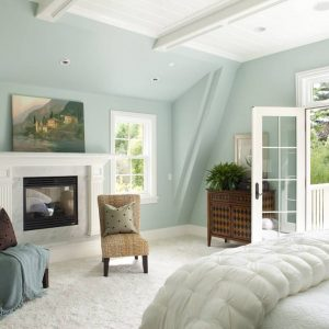 Bedroom Ideas For Teenage Girls In Balcony With Tiffany Blue Paint Plus Ceiling Lighting And Fireplace With Fireplace Mantel Plus White Berber Carpet And Woven Side Chairs With Decorative Pillows
